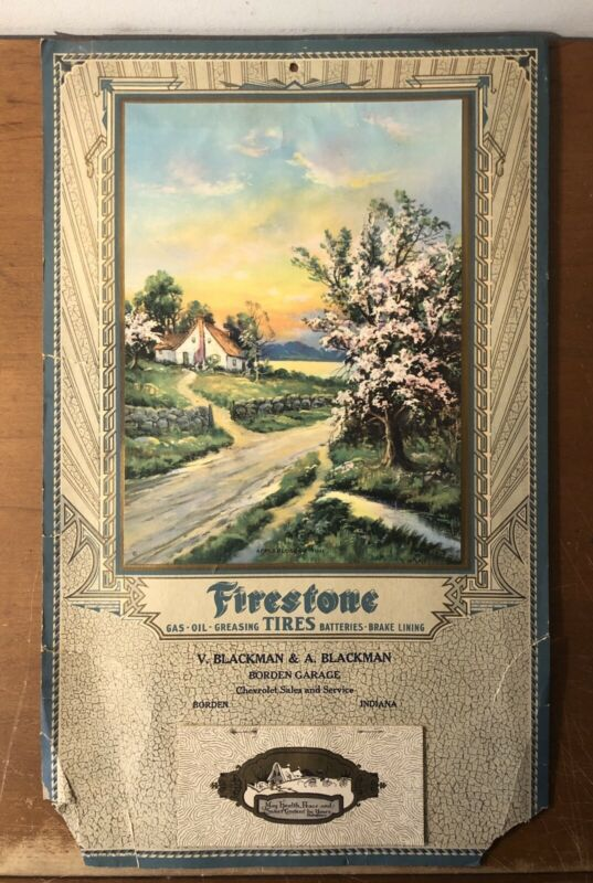 "Vtg 1930 Firestone & Chevrolet Adverting Calendar 17"" Dealership Borden Indiana"