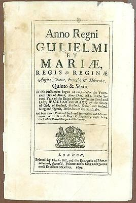 Rare English Act of Parliament, Reign of King William & Queen Mary, 1693