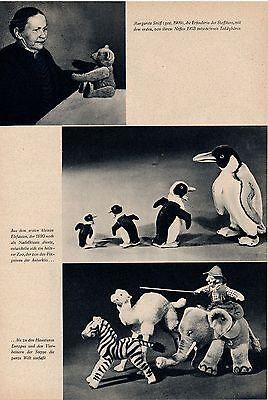 1958 Margarete Steiff Zoo aus Stoff 6-seitig original Zeitschriftenartikel