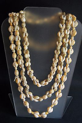 Vintage  Necklace Shell Cowrie Sea Handmade 2 Strand Strung Polished Phillipines