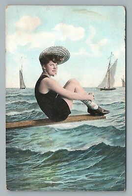 Bathing Suit Girl on Wooden Plank—Antique Beach PC 1037 Sailboat Ocean 1910s