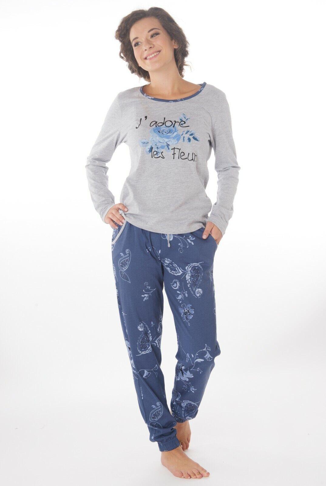 Damen Langarm  Pyjama  Schlafanzug  100% Baumwolle Jersey Knopfleiste SUN8V