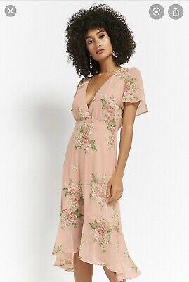 New FOREVER 21 zara h&m Pink Floral Blush Chiffon Dress Medium M