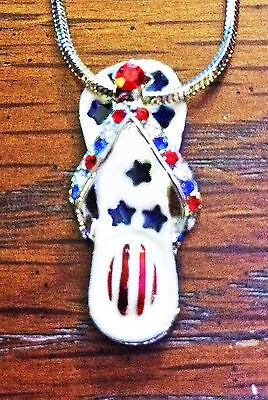 Patriotic Flip Flop Sandal Necklace Enamel Rhinestone Red White Blue *USA*GiftBx ()
