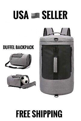 NEW Duffel Backpack Travel Bag Waterproof Shoulder Bag Grey Luggage Bag Men (Gray Mens Backpack)