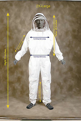 Professional Heavy Duty Bee Suit Beekeeping Supply Suit W Gloves - 2x Large