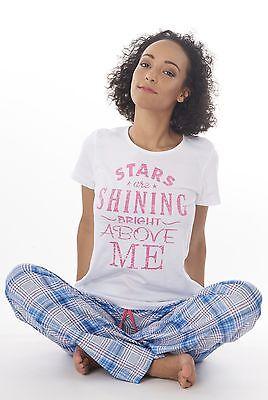 Damen Pyjama Schlafanzug Baumwolle Jersey DF003weissV