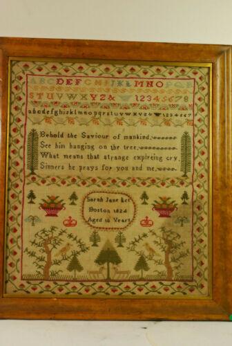 """Signed Boston sampler, """" Sarah Jane Lee """", 1824, great color"""