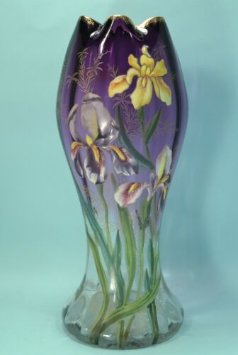 Bohemian Moser Violet to Clear Art Glass Vase Iris Motif Circa 1900