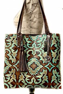 Raviani Tote Bag In Brown & Turquoise Southwestern Embossed Cowhide (Silver Turquoise Bag)