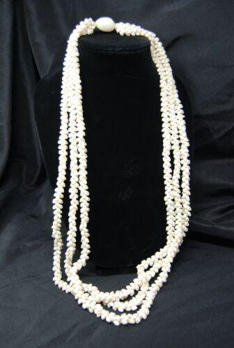 "Vintage Hawaiian Niihau Lei Shell Necklace Wedding Pikake 36"" 3 Strand Momi"