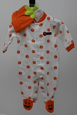 Halloween Infant Carter's White with Orange Pumpkin Sleeper Hat Size Newborn NWT