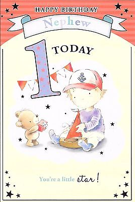 1st BIRTHDAY CARD FOR A NEPHEW - AGE 1 - BOY PLAYING WITH TOY BOAT](Toys For First Birthday)