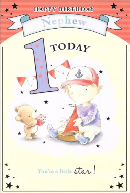 Toys nephew 1st happy birthday greetings cards best wishes age 1 1st birthday card for a nephew age 1 boy playing with toy boat bookmarktalkfo Images