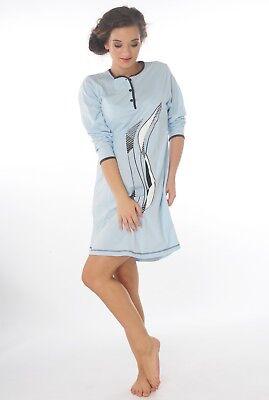 Damen-Nachthemd Baumwolle Jersey Langarm  (DW904bleu) Gr.:44-46