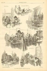 Children-School-Industrial-Education-Assoc-w-Text-Vintage-1887-Antique-Print