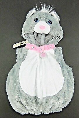 Cat Halloween Costume For Baby Girls 3-6 6-9 12 Month Gray Puffy Vest w/ Hood (Halloween Costumes For Infants 3 6 Months)
