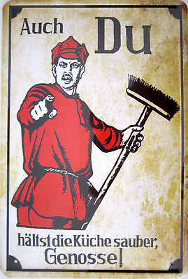 Blechschild 20x30 cm - Auch du hältst die Küche sauber Genosse WG putzen Hinweis (Saubere Küche)