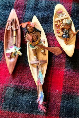 Miniature WOOD CANOES HANDCARVED 1 Teak- Vintage -Sculpted People PRIMITIVE ART