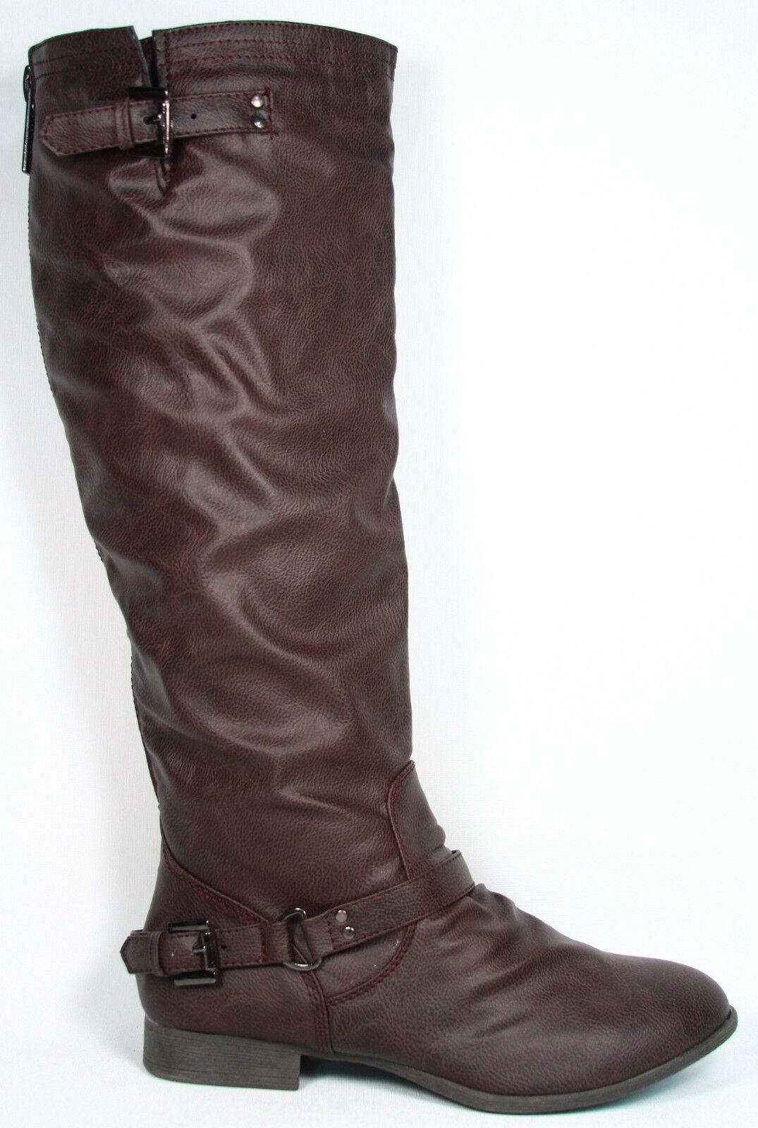 NEW  Women's Zipper Military Low Flat Heel  Buckle Riding Knee High Boot  Shoes