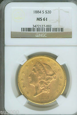 1884 S $20 LIBERTY DOUBLE EAGLE NGC MS61 MS 61 BETTER DATE