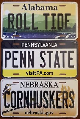 NCAA College Team State Background Metal License Plate