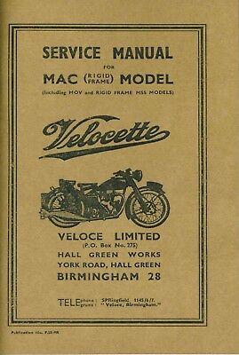 Velocette Service Manual MAC (MOV) Rigid Frame Book Workshop Manual