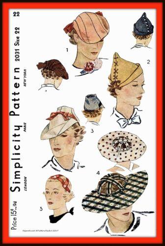 Unique HAT Fascinator Cap Simplicity 2031 Vintage 1930