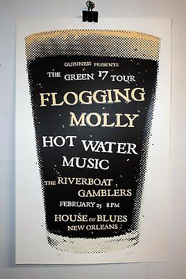 Flogging Molly gig poster NOLA Hot Water Music Riverboat Gamblers Guinness punk