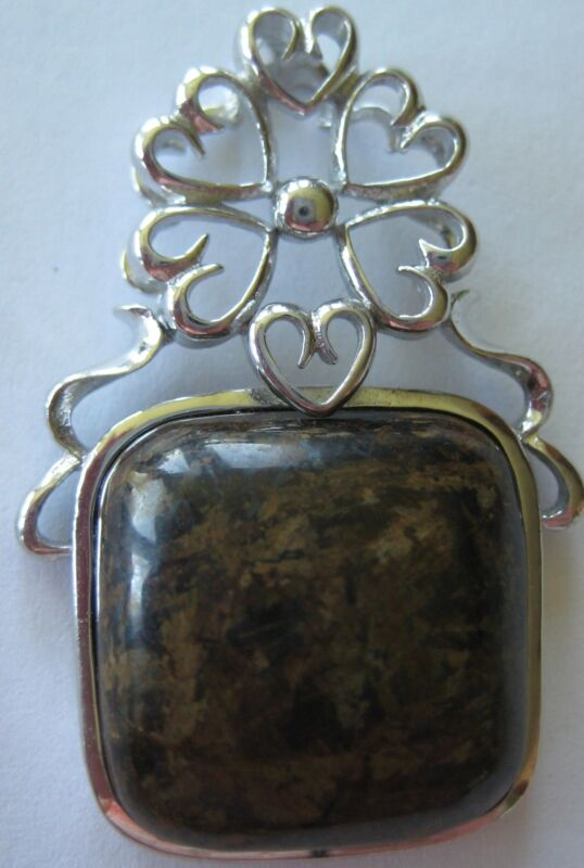 "BOLD STERLING SILVER 1 1/2"" PENDANT BROWN STONE ? AGATE HAND MADE 11.8 G ARTISAN"