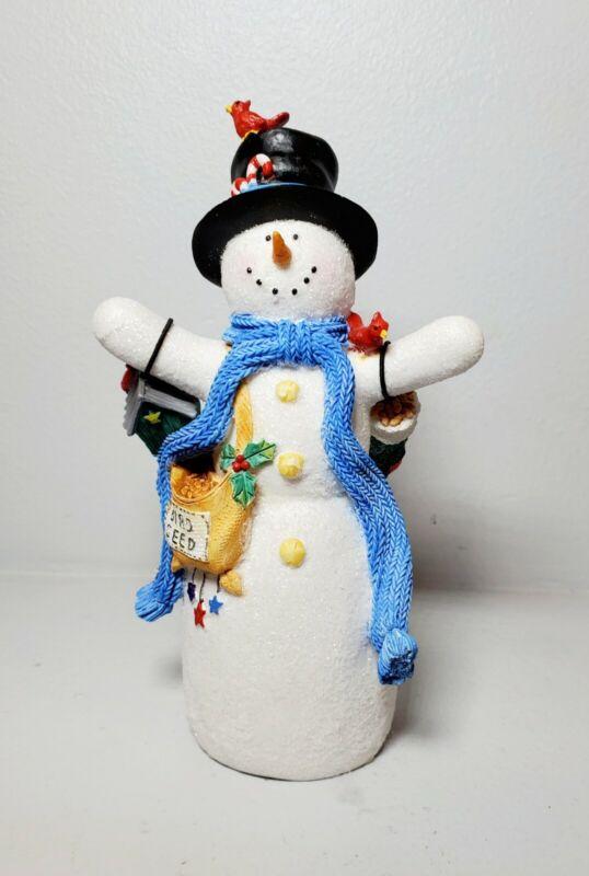 "Hallmark 7"" Snowman with Cardinal  Bird Seed Bird House Glittery Figurine"