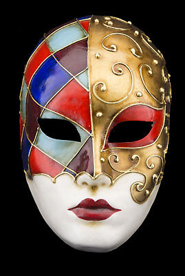 Mask Venice Face Volto Red Blue Gold in Paper Mache V77 2467