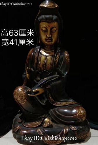 """24""""Old Purple Bronze 24K Gold Ming Dynasty Ruyi Kwan-yin Guanyin Quan Yin Statue"""