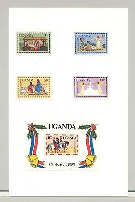 Uganda #395-399 Christmas, Angels, Bells 4v & 1v S/S Imperf Proofs on Card