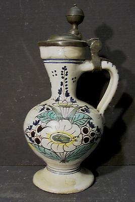 Keramik-Weinkrug mit Zinndeckel vor 1800                                   /4572