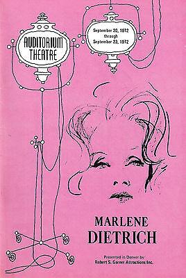 An Evening With MARLENE DIETRICH / Burt Bacharach 1972 Denver Playbill
