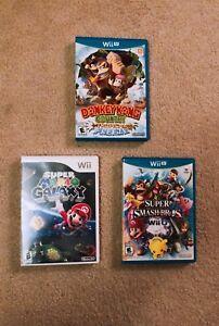 Donkey Kong country, Super Mario Galaxy, Super Smash Bros
