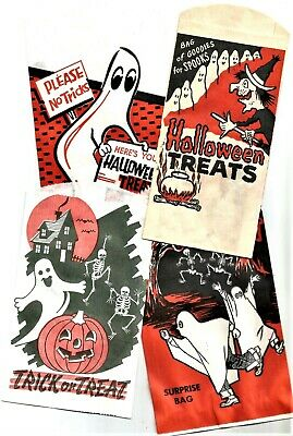 4 VINTAGE 1950's HALLOWEEN Paper TRICK or TREAT Bag GHOST, SKELETONS, WITCH, BAT