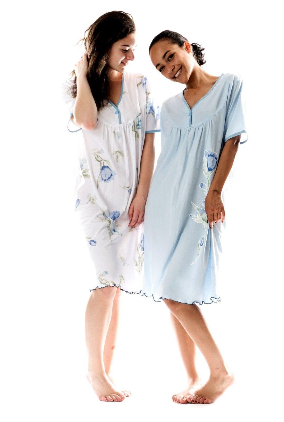 Damen-Nachthemd 2 Stück (DF030/031) Gr.: 60-62.  Baumwolle-Jersey Übergröße