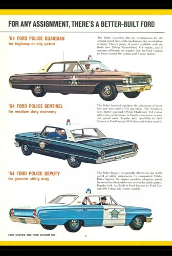 1964 Ford Police Car Brochure Advertisement Design 8x12 In. Aluminum Sign