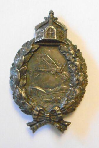 Rare Original WWI Bavarian Pilots Badge Wreath w/ Plane 800 Silver Hallmarked