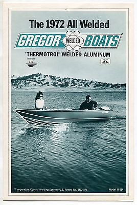"1972 Vintage Sales Brochure: ""Gregor Boats"" - Thermotrol Welded Aluminum"