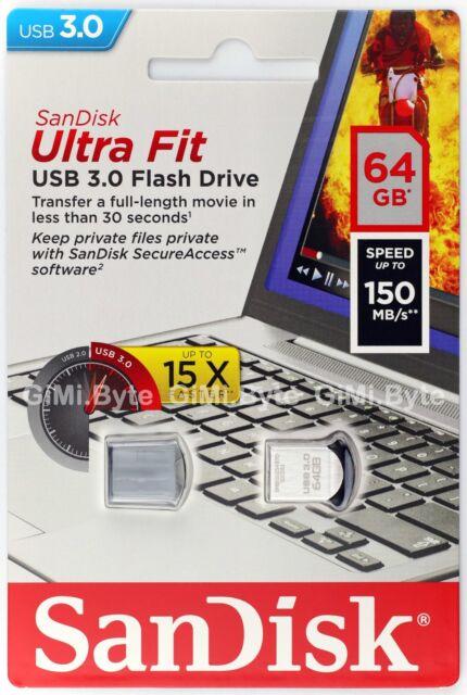 SanDisk 64 GB CZ43 ULTRA FIT USB 3.0 flash Thumb Drive Key Memory Stick 64G