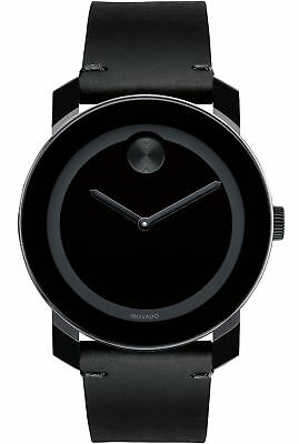 Movado Bold Swiss Black Museum Dial Black Leather Unisex Watch 3600306 SD