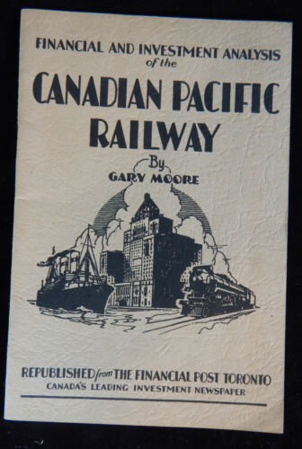 VINTAGE 1929 CANADIAN PACIFIC RAILWAY RAILROAD FINANCIAL & INVESTMENT BOOKLET