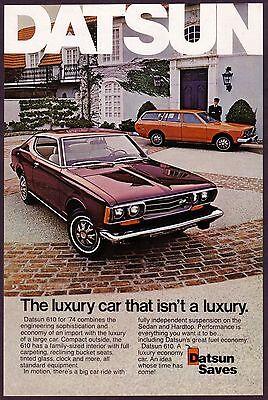 1974 Original Vintage Datsun 610 Sedan Hardtop Car Photo Print Ad