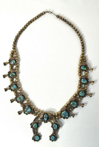 Sterling Silver Turquoise Squash Blossom Necklace with Naja Pendant