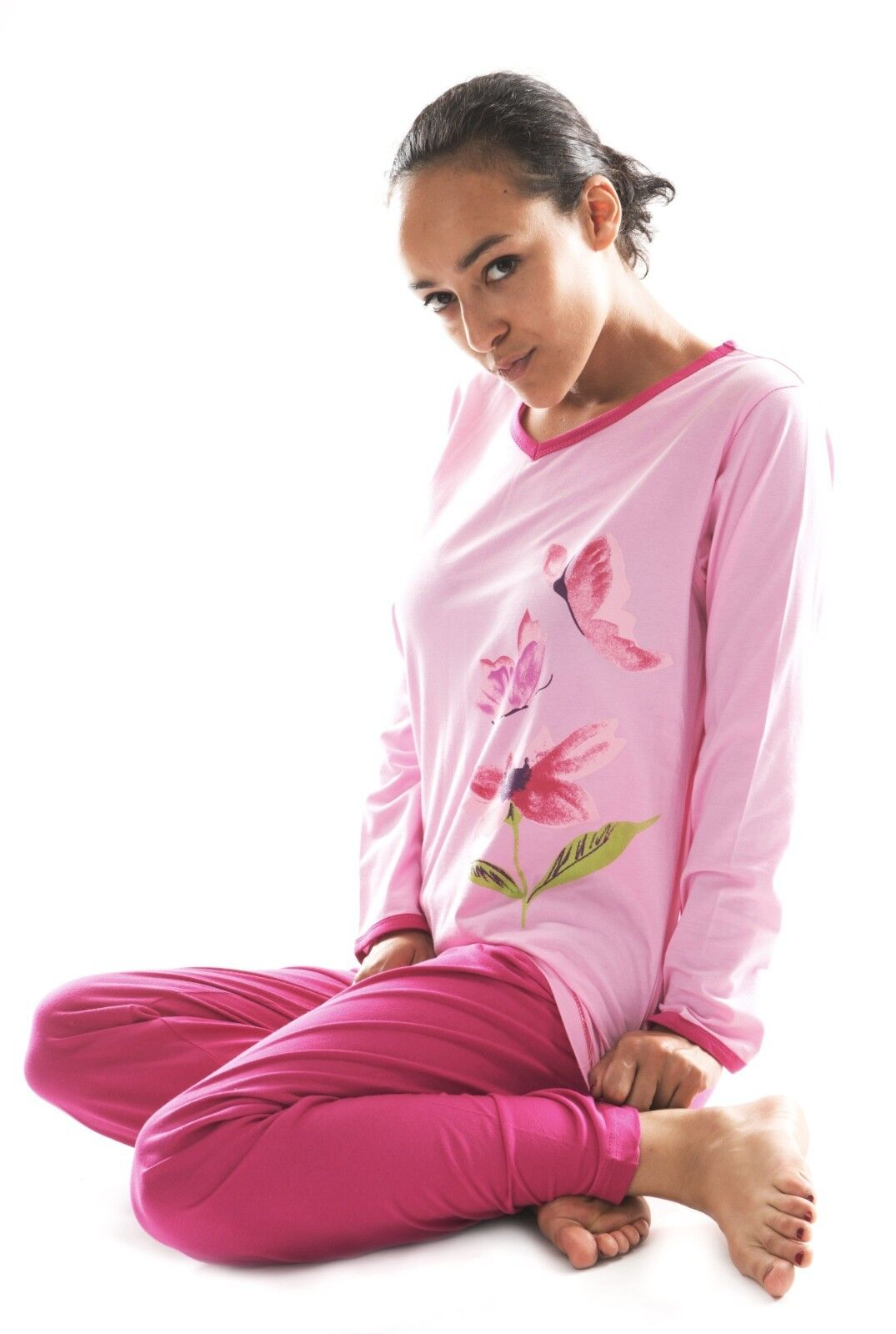 Damen Langarm Pyjama Schlafanzug (DW955) Gr. 38 NEU Baumwolle Jersey