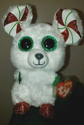 2020 NEW - Ty Beanie Boos - CHIMNEY the Christmas Mouse (6 Inch) MWMT - IN HAND