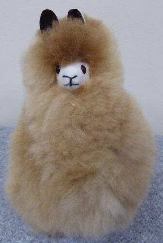 New Handmade in Peru Alpaca Llama Stuffed Animal made with Soft Beige Alpaca Fur